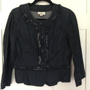 LOFT Jackets & Coats - Denim cropped ruffled jacket 3/4 sleeves, buttons